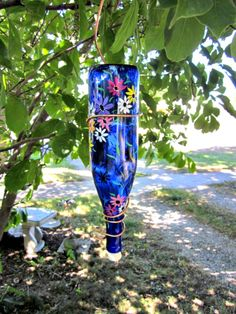 Blue Wine Bottle Hummingbird Feeder Garden Flowers