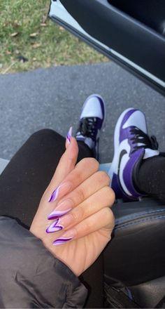 Purple Acrylic Nails, Best Acrylic Nails, Purple Nails, Acrylic Nail Designs, Urban Nails, Christmas Gel Nails, Acylic Nails, Glamour Nails, Diva Nails