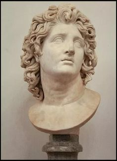 Bust Alexander of Macedonia as the god Helios. - Upon the death of Alexander the Great, Ptolemy was appointed satrap of one third of all the Macedonian Empire, Egypt and Cyrenaica, under the nominal kings Philip Arrihidaeus and the infant Alexander Alexander The Great Death, Alexander The Great Statue, King Alexander, Ancient Greek Art, Ancient Greece, Alexandre Le Grand, Greek Statues, Art Sculpture, Roman Art