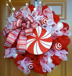 Peppermint Christmas Wreath by marinascustomdesigns on Etsy, $59.00