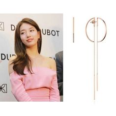 Earrings worn by Suzy and Kim hee seon. - Material : 925 Silver, Rose Gold Plated - Size : L x 33 (mm), R 36 x 107 (mm) / Cubic - Weight : Approximately g - Providea a guarantee Cool Signatures, Korean Celebrities, Rose Gold Plates, Fashion Accessories, Women Jewelry, Ruffle Blouse, Drop Earrings, Gold Plating, Collection
