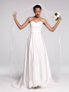 "Olia Zavozina 'Ebie"" gown in silk charmeuse with delicate lace trim"