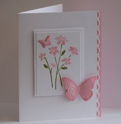 sweet handmade card ... pink and white ... like the delicate layout ...