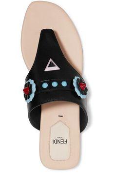 Fendi - Studded Appliquéd Leather Sandals - Black - IT40.5