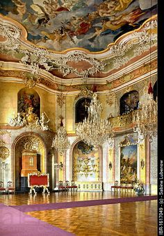 Throne room of Schloss Heidecksburg castle, Rudolstadt, Thuringia, Germany, Europe