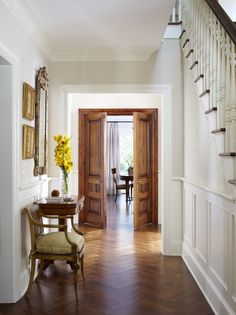Superior They Painted Crown Moldings And Baseboard Trim White Here, And Left Doors  And Windows With Stained Wood Trim. This Looks Luxe And Updatedu2026 Hmm. Home Design Ideas