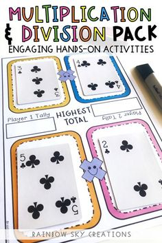 Hands on Multiplication & Division Pack - This comprehensive resource is designed to provide your students with hands-on, differentiated activities to build their multiplication and division skills, strategies and fluency. You will use this resource over and over in your Grade 3 or 4 classroom. Over 13 differentiated activities included, pre assessment and post assessment, along with check list.