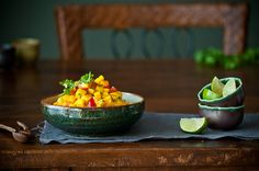 """~ """"Mango Salsa""""...  1 lrg Mango,  1/2"""" dice (@ 2 c)  1 Roma Tomato, 1/2"""" dice (@1/2 c)  1 T Cilantro (finely chopped)  1 t fresh Lime Juice  pinch of Sea Salt  1 T Green Onions, finely sliced ~ optional  finely diced chilies ~ optional  Directions:        Combine all ingredients together and gently mix.  Adjust individual ingredients to taste.      Store covered in fridge until ready to use.  Keeps about 3-4 days."""