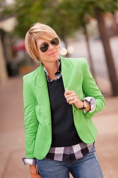 Love the tweaked classic look with lime green/black combo. And the hair! [2013 sweater (Gap), blouse (J.Crew), blazer (Zara, jeans (dl1961), loafers (C. Wonder bag (Michael Kors)]