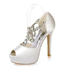 Jiame Womens Peep Toe Stiletto High Heel Platform Pumps T Strap Satin Rhinestones Wedding Bridal Shoes (5.5BM(US)(Asia 36), Lvory white)