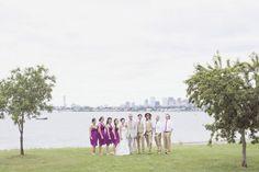 Wedding party photography on Thompson Island