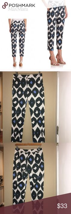 "MaxMara ""Kali"" printed crop pants By max Mara . Size 4 and will fit a 2-4 best . Measurements - waist - 15"" across laying flat . Rise - 9.75"" inseam - 24"" In great condition . Designer pants with great diamond painted print . Will bundle for 10% off MaxMara Pants Ankle & Cropped"