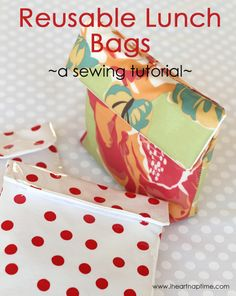 Sewing Bags Project Reusable Lunch Bags (sewing tutorial) I Heart Nap Time Sewing Hacks, Sewing Tutorials, Sewing Crafts, Sewing Projects, Sewing Patterns, Diy Crafts, Tutorial Sewing, Pouch Tutorial, Purse Patterns