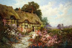 Alfred de Breanski Ann Hathaway's Cottage painting for sale - Alfred de Breanski Ann Hathaway's Cottage is handmade art reproduction; You can buy Alfred de Breanski Ann Hathaway's Cottage painting on canvas or frame. Anne Hathaway's Cottage, Storybook Cottage, Old Cottage, Cottage In The Woods, Paintings I Love, Paintings For Sale, English Country Cottages, Painted Cottage, Post Impressionism