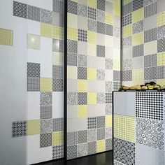 Black and yellow patterned tiles Patterned Wall Tiles, Yellow Pattern, Ceramic Design, Tile Patterns, Black N Yellow, Classic, Modern, Furniture, Home Decor
