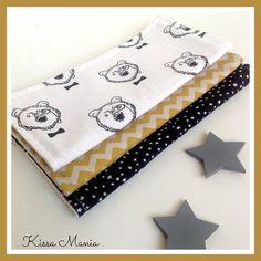* Collection Noël * 3 grandes lingettes lavables en coton, assortiment de tissu ours blanc, jaune moutarde et noir. : Puériculture par kissa-mania