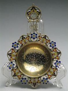 David Andersen Plique a Jour Enamel Sterling Silver Tea Strainer 1888-1925 #DavidAndersen