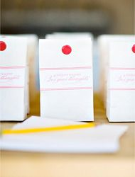 Candy Favor Bags: DIY Project  Read more - http://www.stylemepretty.com/living/2009/11/05/candy-favor-bags-diy-project/