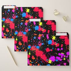Neon Paint Splatter Glow in the Dark File Folder - blue gifts style giftidea diy cyo Binder Folder, File Folder, Neon Painting, Diy Funny, Paint Splatter, Pink Gifts, Blue Fashion, Cool Gifts, The Darkest