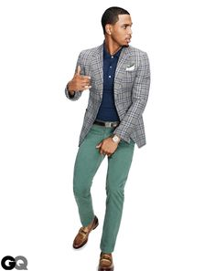 Jacket, $2,350, and loafers, $570, by Gucci. Polo shirt, $385 by Louis Vuitton. Chinos, $55 by Dockers. Pocket square Paul Stuart. Belt by J.Crew. Watch by Audemars Piguet.    Read More http://www.gq.com/style/wear-it-now/201203/best-spring-sports-jackets-blazers-men-trey-songz#ixzz1rShowN6Y