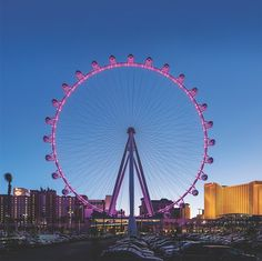 High Roller (Linq)  - Go for non-bar car (you can bring your own booze on- there is even a bar as you are entering!) and this way it will be less crowded.  We went around 7/8pm and had the car to ourselves
