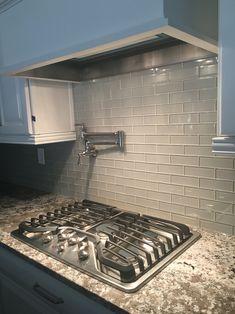 kitchen backsplash glass tile gray bianco antico granite mist glass tile backsplash white cabinets burner ge profile stove top and my pot filler glass tile backsplashes designs types diy installation