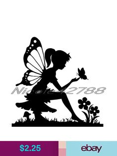 Decals, Stickers & Vinyl Art Vinyl Fairy Sticker/Wall/Laptop/Tablet /Car Decal + More Colors & Garden Fairy Lights In A Jar, Fairy Jars, Fairy Silhouette, Silhouette Painting, Fairy Templates, Boarder Designs, Fairy Drawings, Fairy Statues, Fairy Tattoo Designs