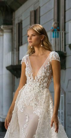 berta fall 2020 bridal cap sleeves deep v neck full embellishment sexy elegant fit and flare wedding dress a line overskirt backless scoop back medium train zv -- Berta Fall 2020 Wedding Dresses 2nd Wedding Dresses, Wedding Dress Prices, Fit And Flare Wedding Dress, Gorgeous Wedding Dress, Bridal Dresses, Dresses Uk, Berta Bridal, Bridal Collection, Bridal Style