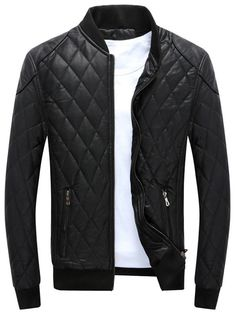 d426badf3d6868 Casual Diamond Pattern Faux Leather Bomber Jacket - BLACK XL Patterned  Bomber Jacket