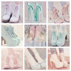 cute, high heels, kawaii, shoes pastel shoes