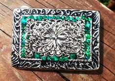 medieval belt buckle, womens, statement, rectangular, green rhinestones, perfect gift for her