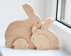 Animal puzzle wooden elephants family puzzle toy wooden puzzle easter kids gifts bunny rabbit family wooden bunny puzzle bunny toy animal negle Image collections