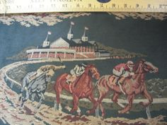 Horse Racing Design Quality Tapestry Upholstery Fabric New 1 Yard | eBay