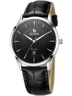 BUREI® Men's BM-3005-01E Date Quartz Dress Watch with Black Leather Strap and Black Dial Price:$45.99