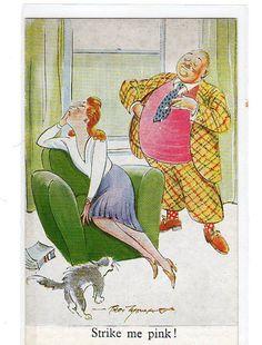 Tuck's Post card Strike me Pink vintage postcard, Dandy man dressed in hot pink sweater vest scares the cat