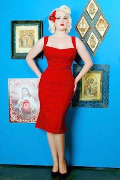 Pinup Couture - Jessica Wiggle Dress in Vintage Red
