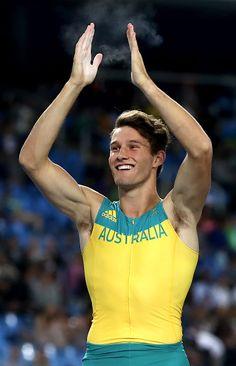 Henry Frayne of Australia celebrates during the Men's Long Jump Final on Day 8…