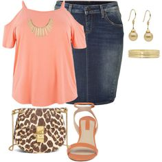 my plus size denim skirt style look3/simple summer date night by kristie-payne on Polyvore featuring polyvore fashion style True Religion Dorothy Perkins Chloé Liz Claiborne FOSSIL