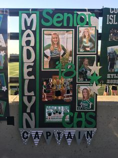night for a cheerleader!Senior night for a cheerleader! Senior Night Gifts, Senior Day, Senior Softball, Graduation Decorations, Graduation Party Decor, Graduation Ideas, Volleyball Locker Decorations, Homecoming Posters, Cheer Posters