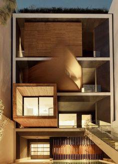 L'architetto Alireza Taghaboni ha ideato per lo studio  nextoffice  di Tehran, in Iran, una casa molto speciale, capace di adattarsi alle esigenze delle diverse stagioni. La costruzione si sviluppa su tre piani, all'interno del quale è posizionato un box in legno in grado di ruotare su s&eacu