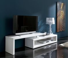 Blanco, Modern Extending TV Unit in White High Gloss