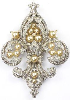 Trifari 'Alfred Philippe' Empress Eugenie Silver and Pearls Fleur de Lys Pin Clip