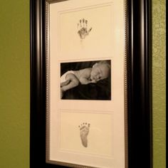 My own keepsake creation and one of my very favorites.  Newborn handprint, footprint, & picture.
