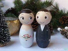 Noivinhos de Madeira - Topos de Bolo Personalizados | cake toppers | casamento | wedding