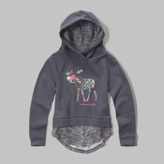 a hooded fleece layer with a layered hem and patterned logo graphic at front, classic fit, imported  body and hood lining: 60% cotton/ 40% polyester