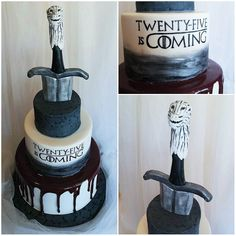 Game of Thrones themed birthday cake for a die hard fan! This deep red velvet cake is complete with hand painted GoT font blood caramel and Jon Snow's sword (yes the sword is nearly identical to how it really looks) #gameofthrones #got #jonsnow #wolf #birthdaycake #cakestagram #fondant #gumoaste #caramel #nerd #pin #mysugarrush Game Of Thrones Birthday, Game Of Thrones Cake, Velvet Cake, Red Velvet, Themed Birthday Cakes, 40th Birthday, 40th Bday Ideas, Red Cake, Cake Games