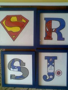 Boys room Initials with superhero pictures. I made them for my nephews now i will make one for my baby boy!
