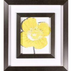 "Universal Lighting and Decor Yellow Blooms I Print Under Glass 21"" High Wall Art"