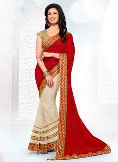 Cream N Red  Half N Half saree