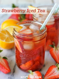 Strawberry Iced Tea. 2 tea bags (like Lipton),1 Lb strawberries hulled/quartered & more for garnish, 1/4 C fresh squeezed lemon juice,1/2 C water,& 1/3 C sugar. Steep tea bags in 4 C boiling water according to pkg directions,discard tea bags & let tea cool. In pan, combine strawberries, lemon juice, sugar & 1/2 C water. Bring to a boil, remove from heat, let cool to room temp, & strain through sieve. In pitcher, whisk strawberry syrup & brewed tea. Chill in fridge. Serve over ice…